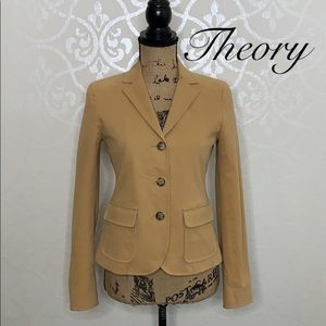 THEORY CAMEL COLORED SIZE 6 COTTON BLEND BLAZER